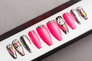Pink Abstraction Luxury Press on Nails
