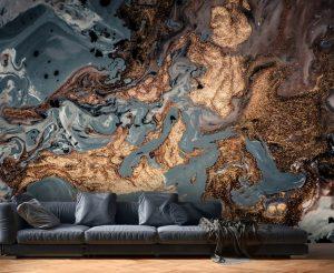 3D Custom Luxury Ink Gold and Black Vinyl Wallpaper Exclusive Design