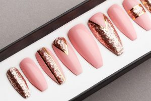 Luxury Rose Gold with glitter  Press on Nails