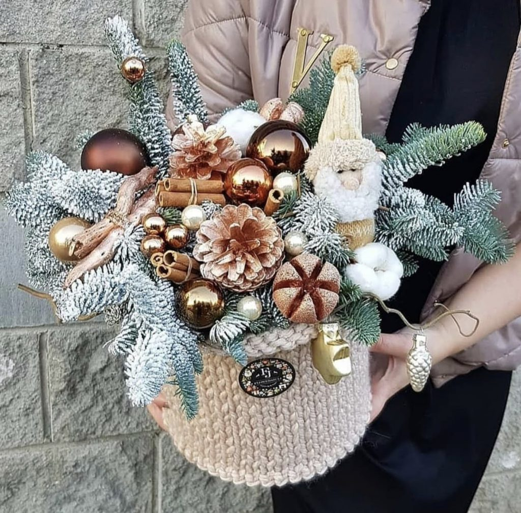 Faux festive trees in lavish gift box