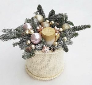Pink and gold mood festive flower box gift