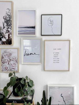 Custom our home family names 7 set wall art print