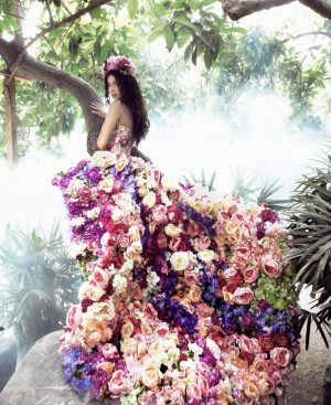 Dreamy Floral stunning rainbow couture dress