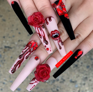 Luxury dramatic Red embellished Press on Nails