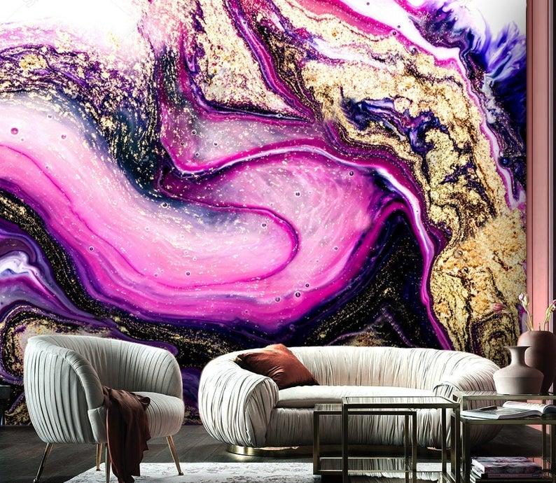 3D Custom Purple & Gold Sparkles Wallpaper Exclusive Design