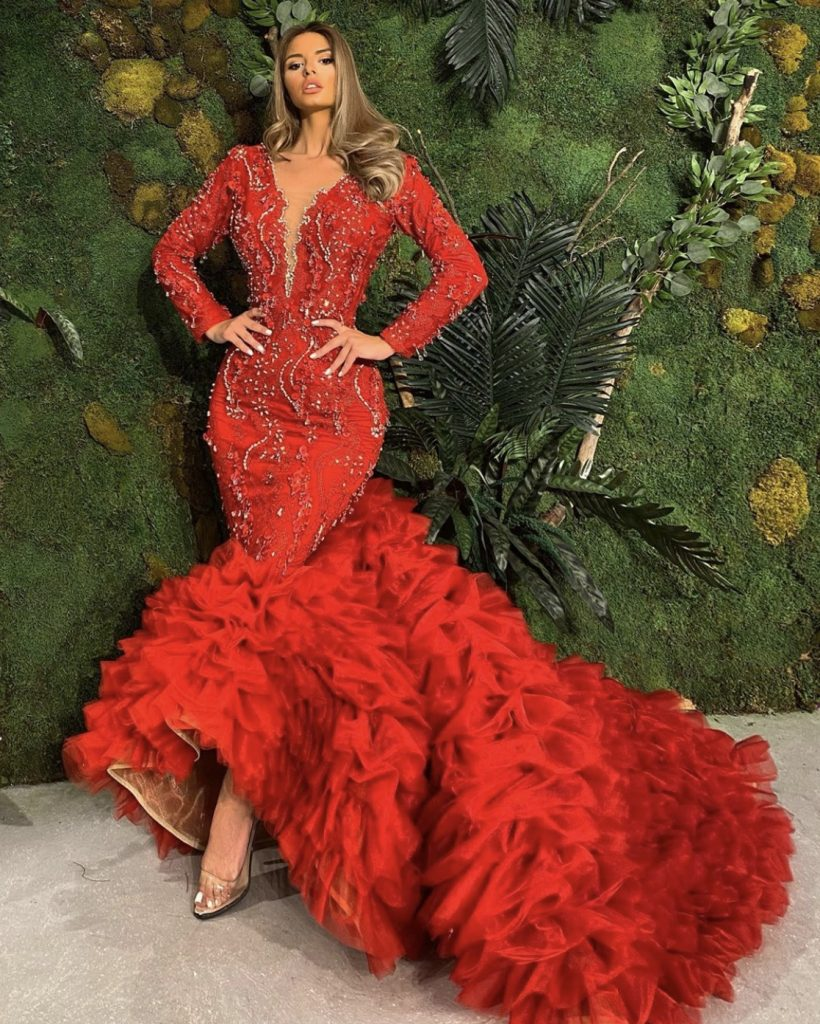 Red embellished frill mermaid dress