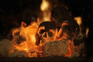 Skull charcoal for fireplace or Barbecue