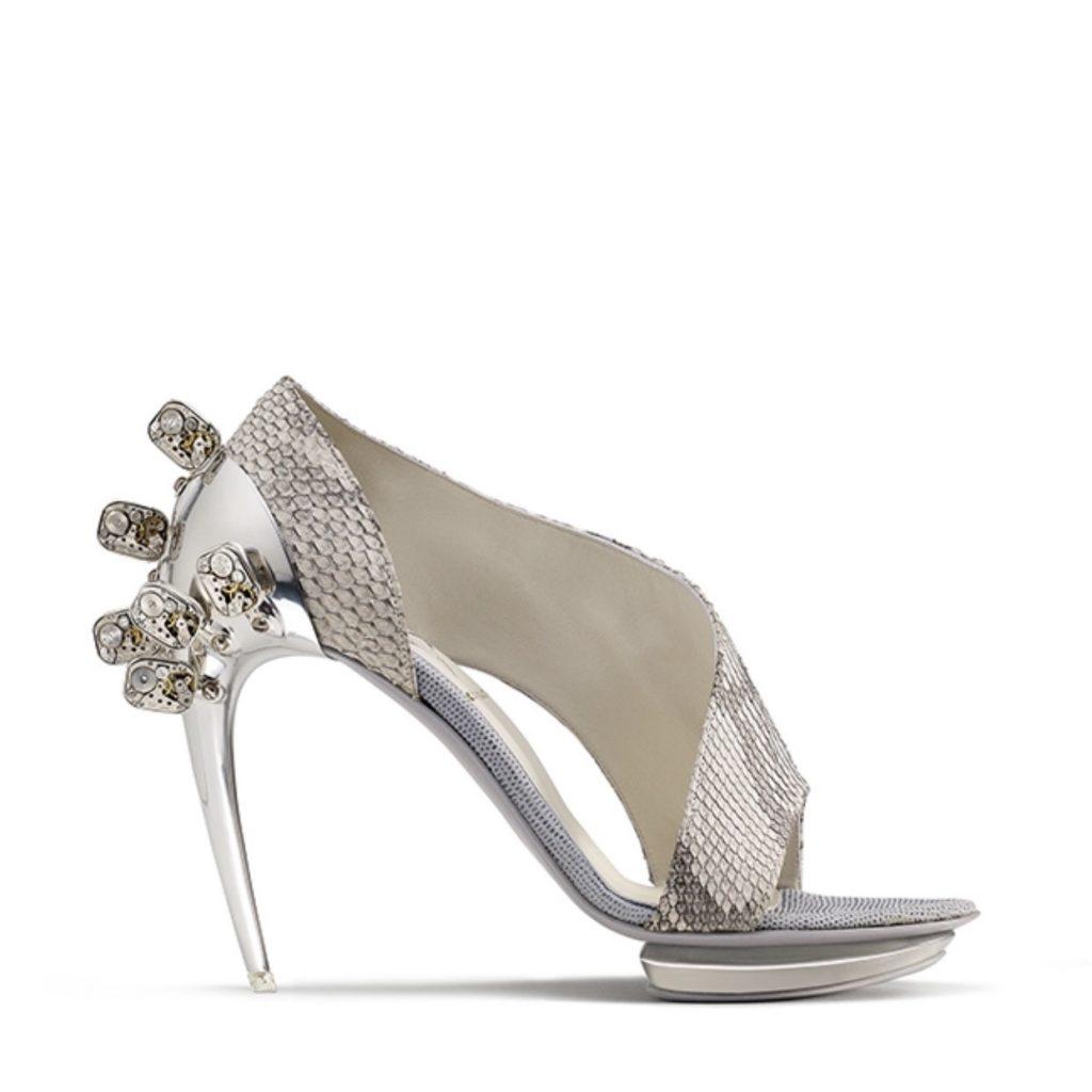 Silver embellished caiman leather aluminium shoes