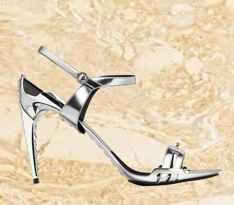 Silver Metallic leather Aluminium Shoes