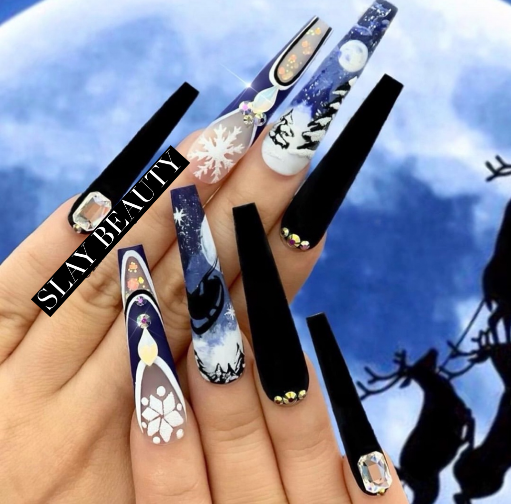 Luxury black blue white crystal  Press on Nails