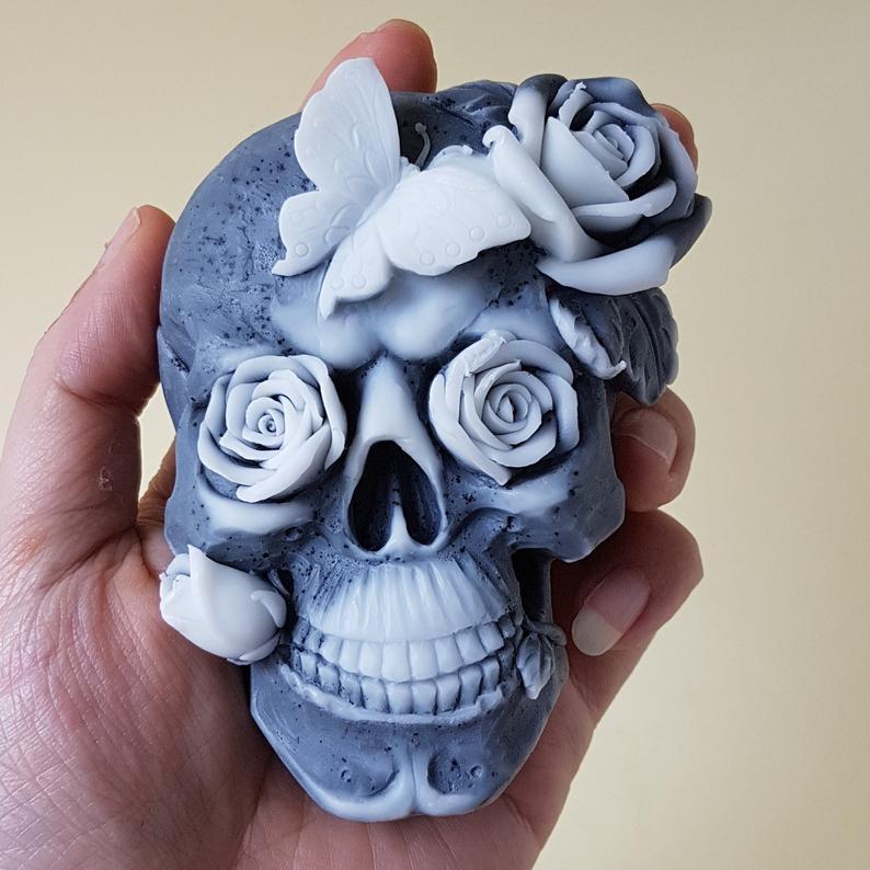 Skull and rose handmade soap
