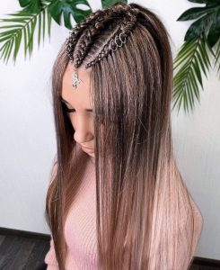 Premium synthetic brown custom braided full lace wig