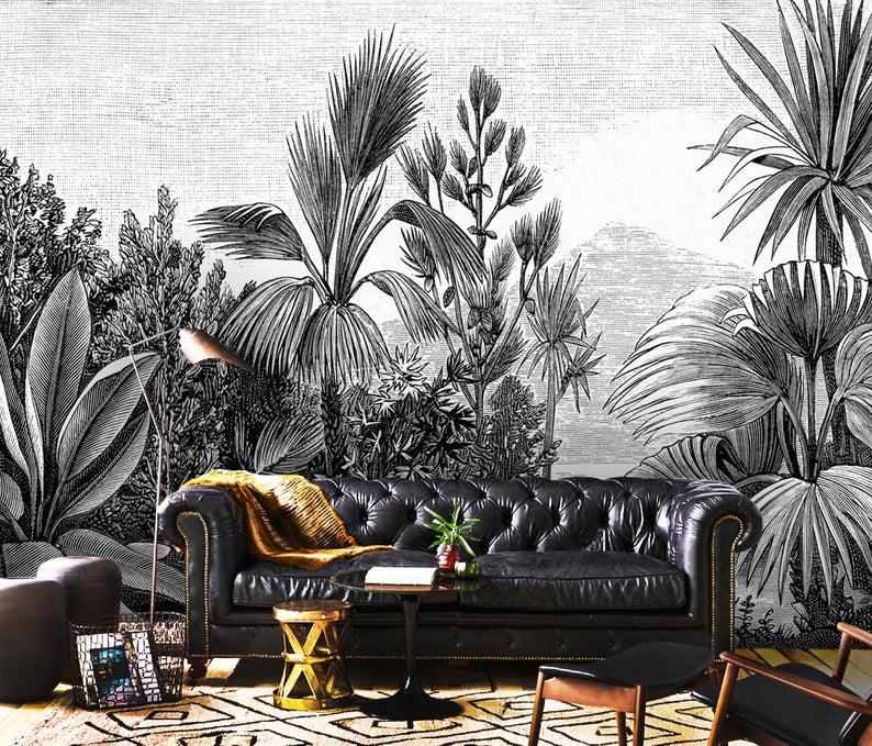 3D Custom tropical design palm trees Wallpaper Exclusive Design