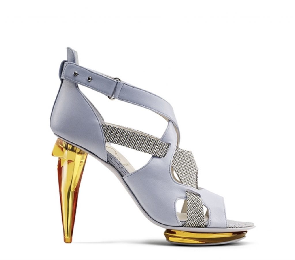 Gold plexiglass heel  metallic leather aluminium shoes