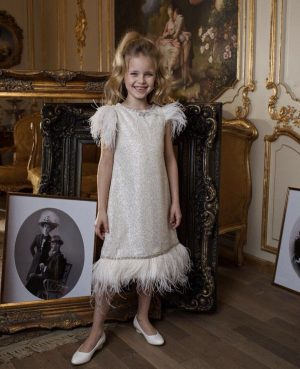 White Ostrich feather kids couture midi dress