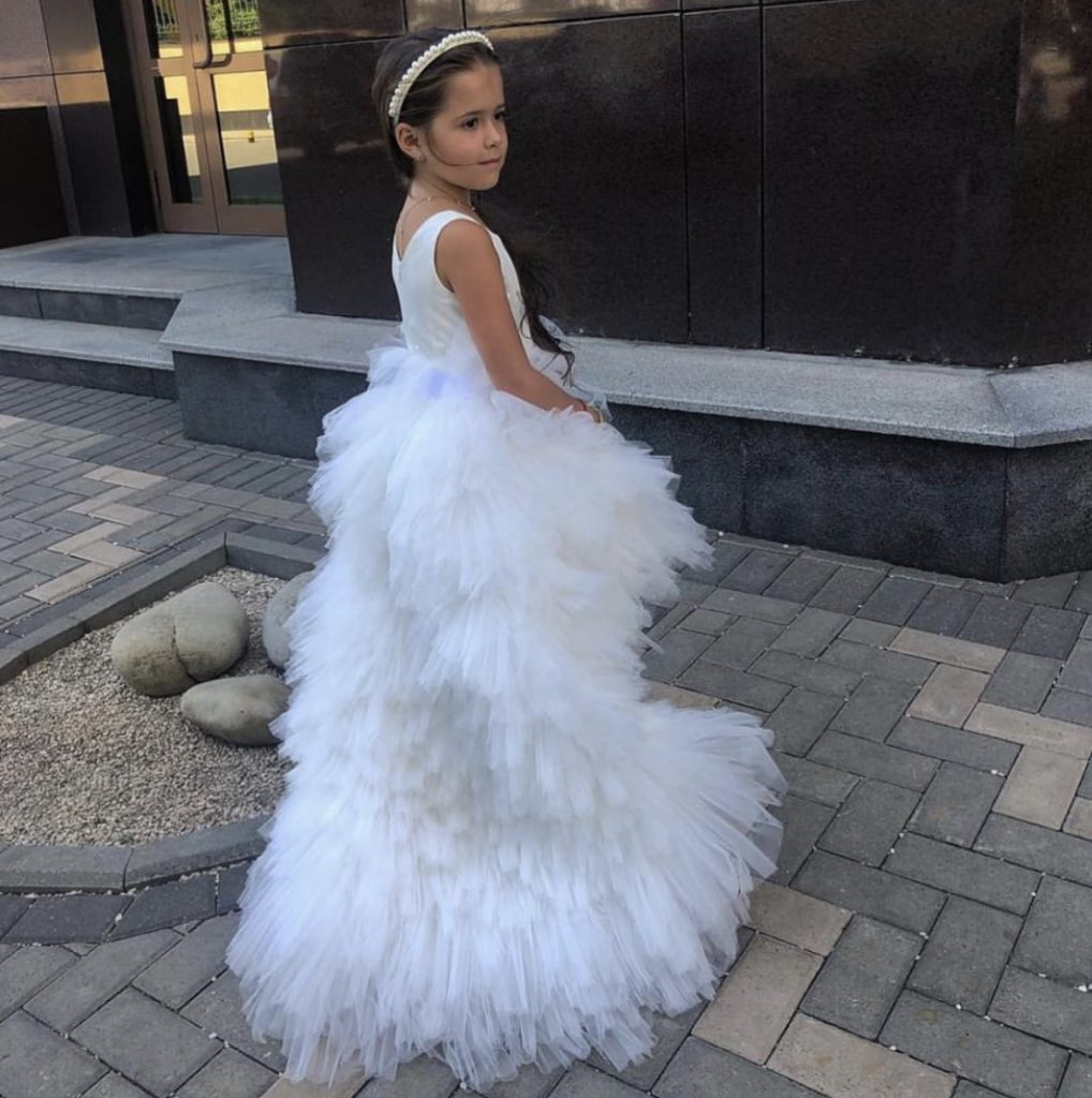 White kids couture dress