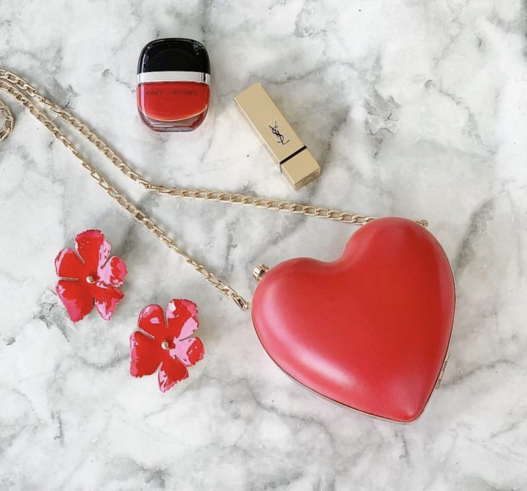 Red bag and matching earring set
