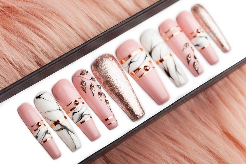 Luxury pink fog Press on Nails