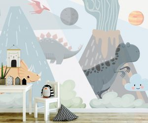 3D Dinosaurs Volcano vinyl Wallpaper Exclusive Design