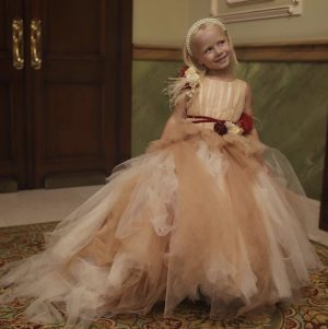 Peach and white tulle kids couture dress