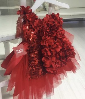 Red floral sequin tulle kids couture party dress