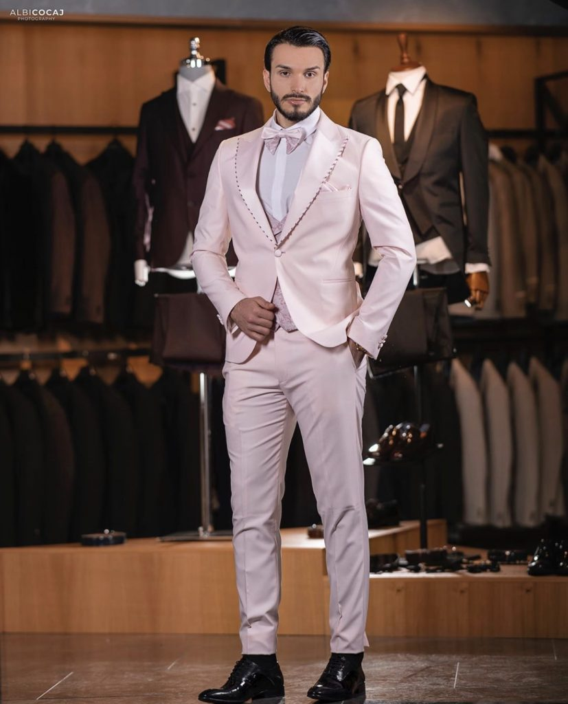 Pastel Pink Men's Fashion custom Suit