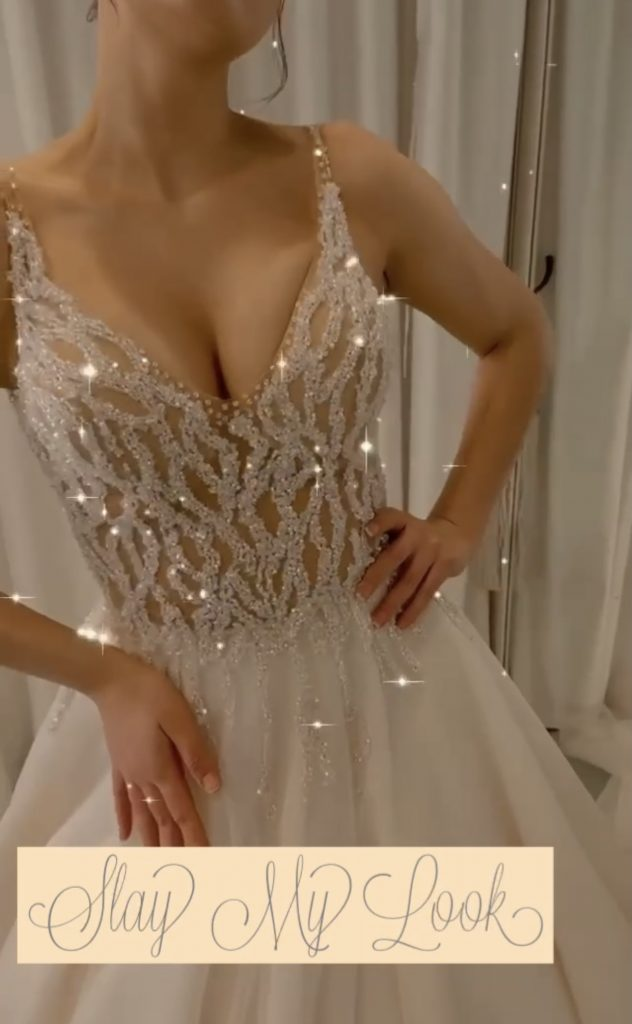 Luxe Spaghetti crystal wedding dress