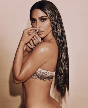 Kim Kardashian in a Synthetic Python skin wig