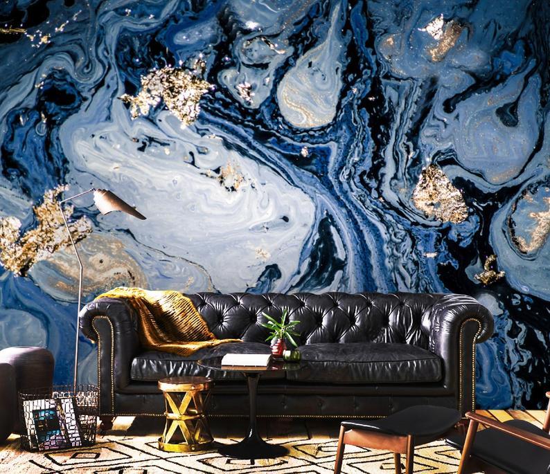 3D Sparkles, Gold & Blue, Oriental, Vinyl  Wallpaper Exclusive Design
