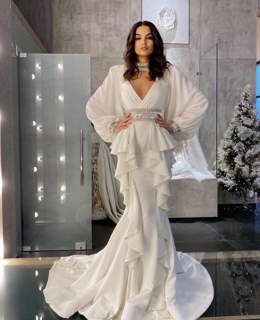 White Angelic frilly silver embellished long dress