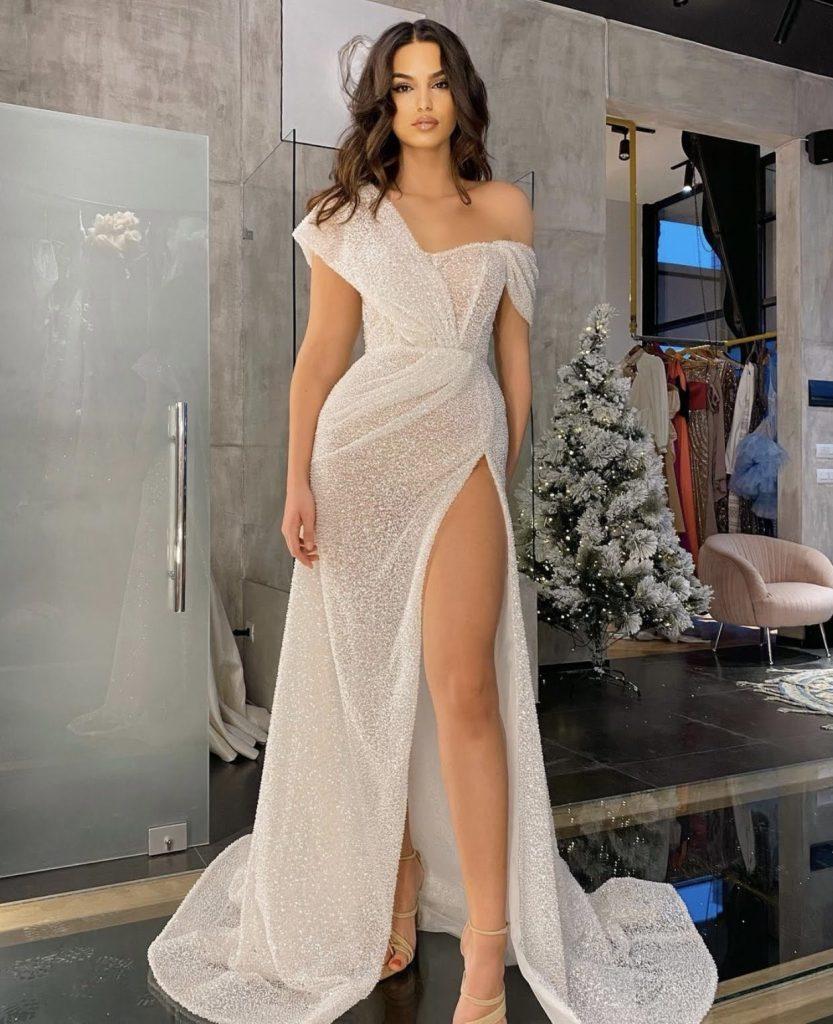 White sparkly high slit dress
