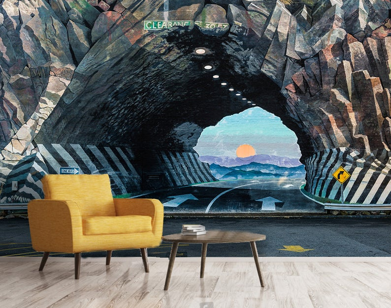 3D Tunnels, Cave openings, Sunsets, Graffiti Vinyl  Wallpaper Exclusive Design