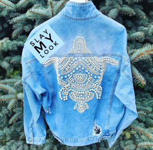 Embellished distressed blue Denim jacket