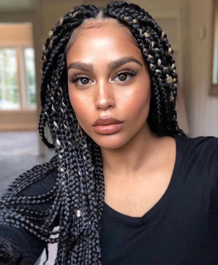 Super long  black ombré box braid Synthetic wig