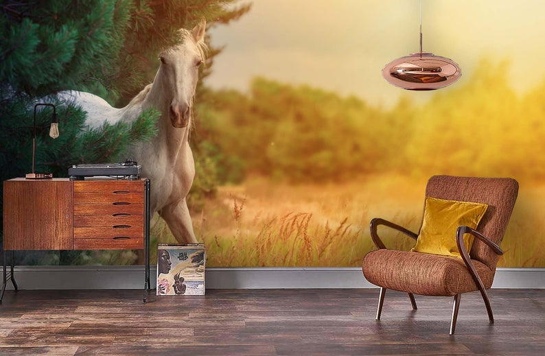 3D Galloping, White horse, Field scenery vinyl Wallpaper Exclusive Design