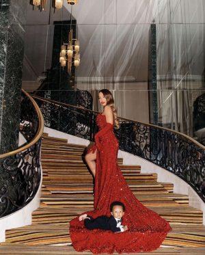 Festive red carpet family look