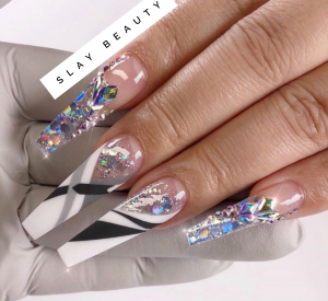 Luxury clear embellished Press on Nails
