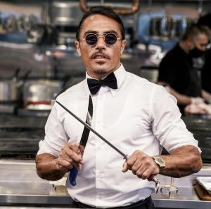 How does salt Bae keep people from getting bored of his signature routine