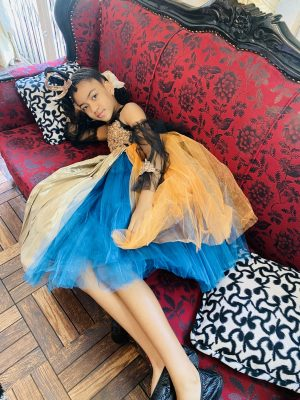 Playing dress up in a Slay My Bambini opulent dress