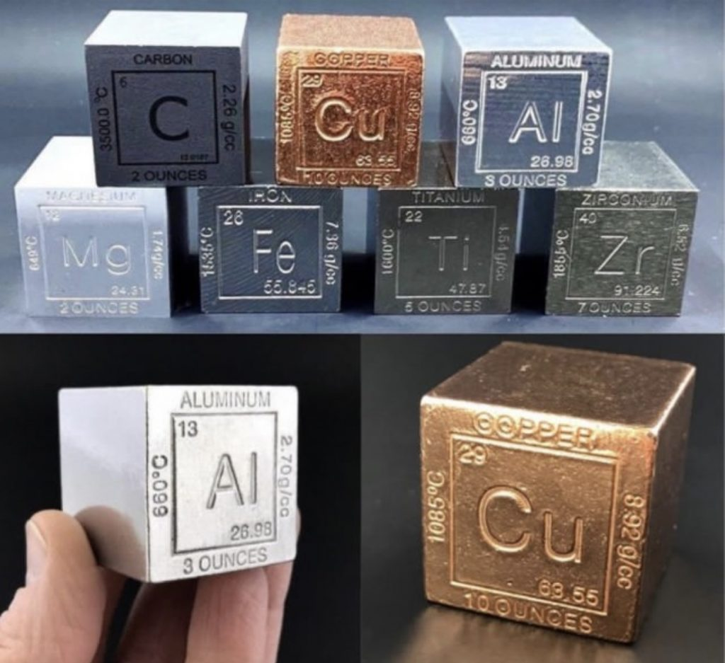 Metal Element Cubes Science Gift Periodic Table of Elements Set of 8