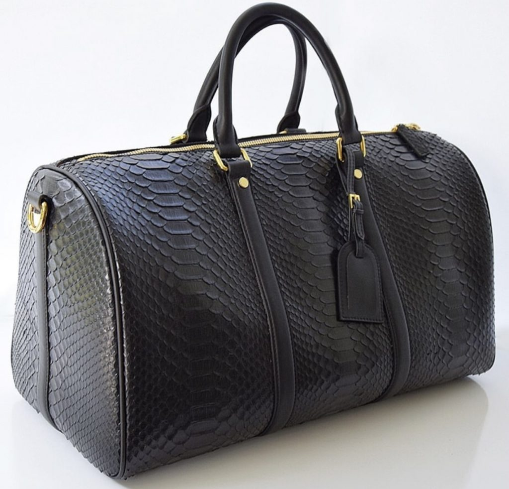 Black Python leather Duffle Bag