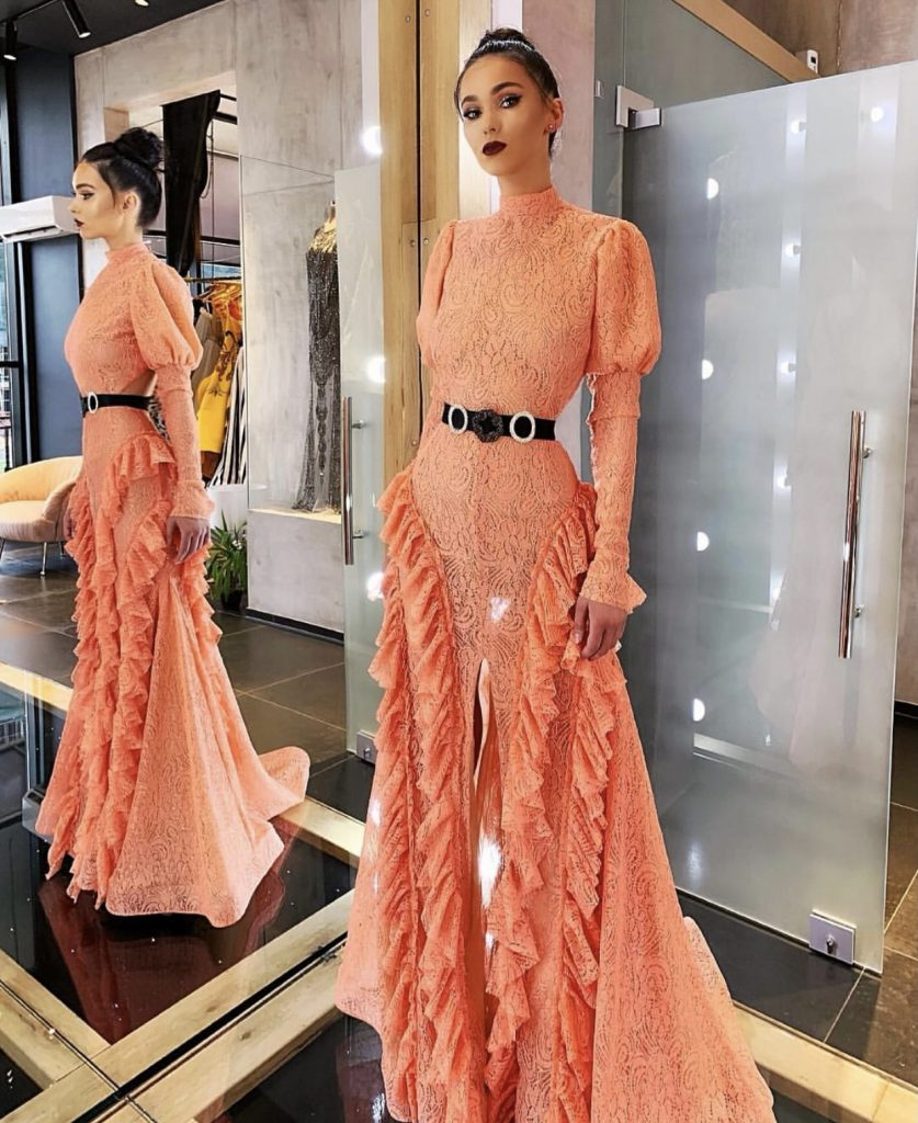 Romantic peach lace dress with daring high slit