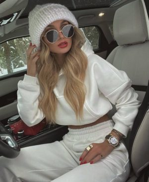 Victoria fox in an all white casual chic outfit
