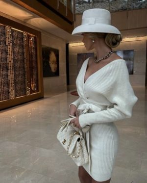 Victoria fox in an all white chic outfit