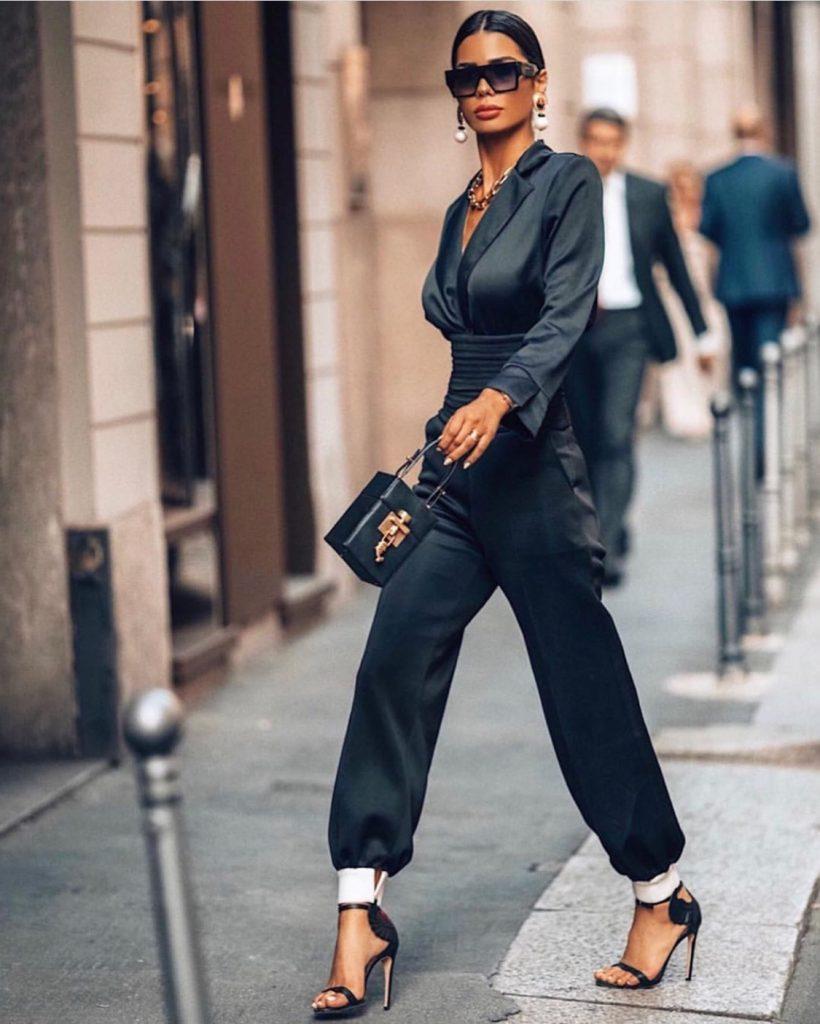 Fafia Abdel Aziz in an all black stylish ensemble