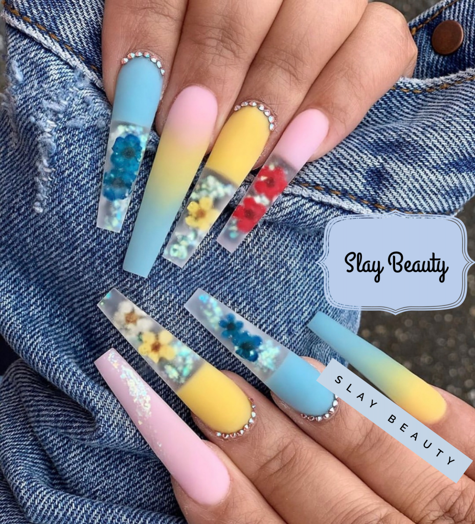 Luxury rainbow summer embellished floral  Press on Nails