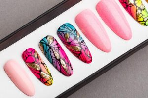Luxury tropical with glitters  Press on Nails