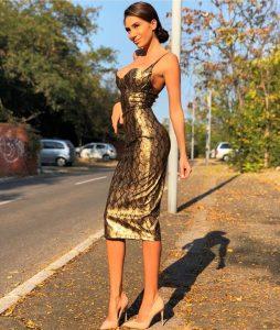 Gold serpent midi dress