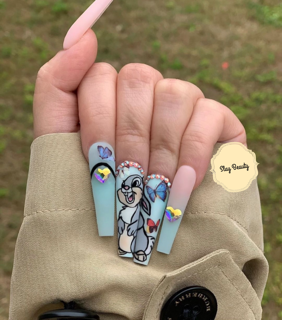 Luxury baby blue bugs bunny butterfly  Press on Nails