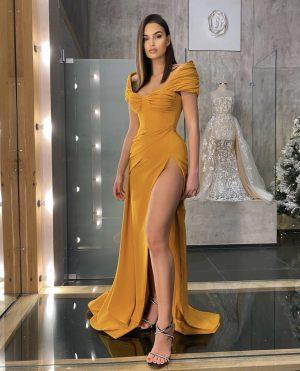 Elegant Off shoulder Mustard high cut slit dress